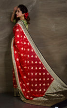 Pure Khaddi Georgette Banarasi Saree in Red and Black from Bengal Looms India