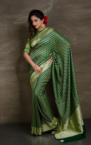 Pure Khaddi Georgette Banarasi Saree in Bottle green and Gold - Bengal Looms India