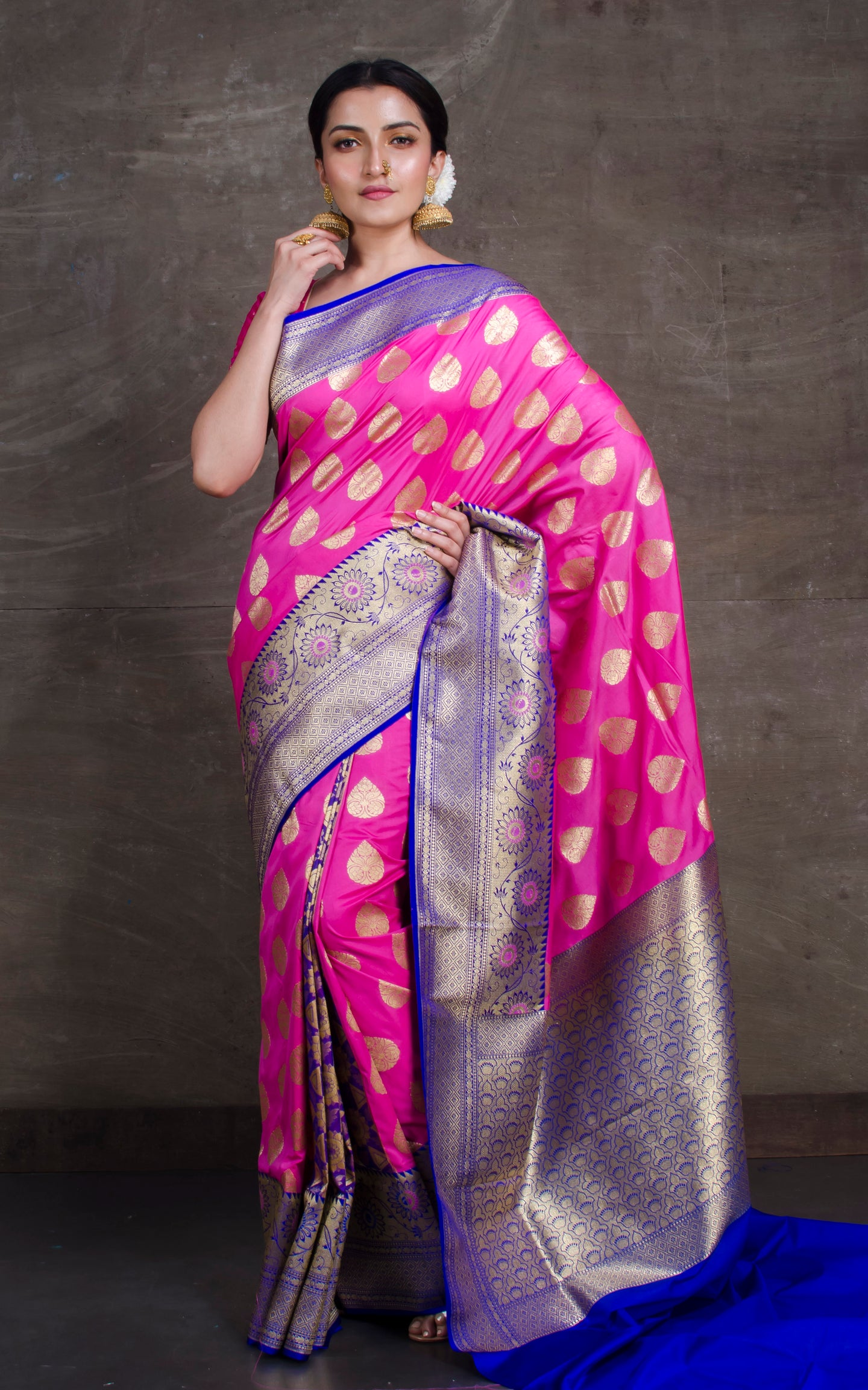 Silk Opada Katan Saree in Pink and Royal Blue
