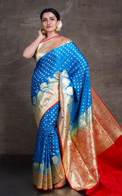 Traditional Semi Katan Makhi Buti Banarasi Saree in Blue and Red
