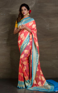 Pure Khaddi Georgette Banarasi Saree in Peach and Sky Blue - Bengal Looms India