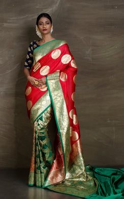 Traditional Semi Katan Patli Pallu Banarasi Saree in Red and Dark Green - Bengal Looms India
