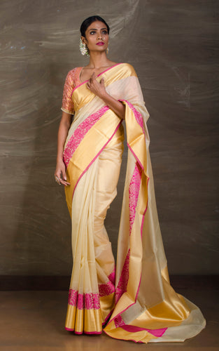 Cotton Silk Banarasi Saree in Sugar Cookie and Pink