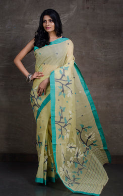 Hand Woven Cotton Dhakai Jamdani Saree in Pista Green, Navy Blue and Off White