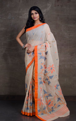 Hand Woven Cotton Dhakai Jamdani Saree in Beige, Blue and Orange