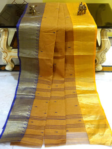 Bengal Handloom Cotton Saree in Mustard, Navy Blue and Yellow from Bengal Looms India