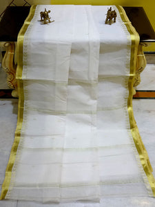 Bengal Handloom Cotton Saree in White and Gold