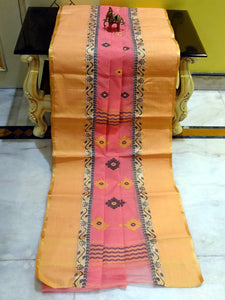 Bengal Handloom Cotton Saree in Peach and Satin Gold