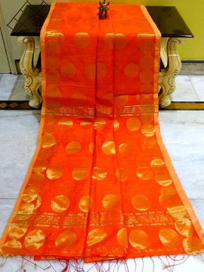 Blended Cotton Silk Saree with Golden Polka Dots in Orange