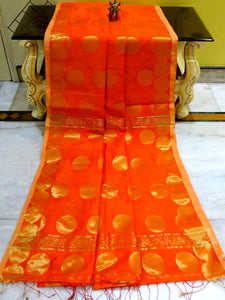 Blended Cotton Silk Saree with Golden Polka Dots in Orange - Bengal Looms India