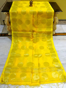 Blended Cotton Silk Saree with Golden Polka Dots in Yellow - Bengal Looms India