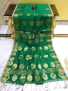 Blended Cotton Silk Saree with Golden Polka Dots in Hunter Green from Bengal Looms India