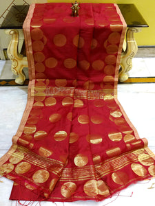 Blended Cotton Silk Saree with Golden Polka Dots in Maroon - Bengal Looms India