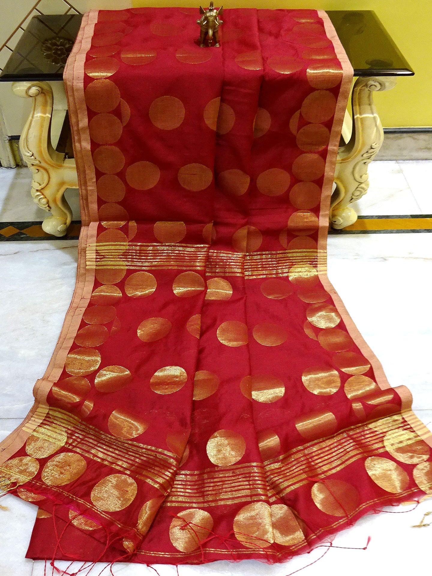 Blended Cotton Silk Saree with Golden Polka Dots in Maroon from Bengal Looms India