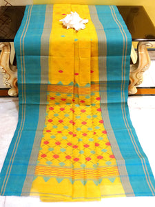 Patli Pallu ( Kuchi Anchal ) Bengal Hand Loom Cotton Saree in Yellow and Blue - Bengal Looms India