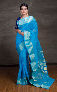 Bengal Handloom Cotton Saree in Blue and Gold - Bengal Looms India