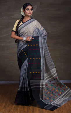 Bengal Handloom Cotton Saree in Grey and Black