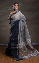 Bengal Handloom Cotton Saree in Grey and Black from Bengal Looms India