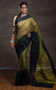 Bengal Handloom Cotton Saree in Moss Green
