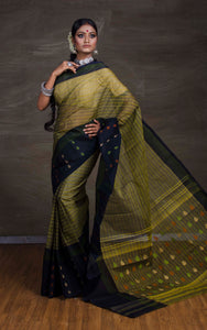 Bengal Handloom Cotton Saree in Moss Green from Bengal Looms India