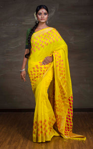 Matka Tussar Silk Jamdani Saree in Yellow and Pink