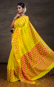 Matka Tussar Silk Jamdani Saree in Yellow and Pink from Bengal Looms India