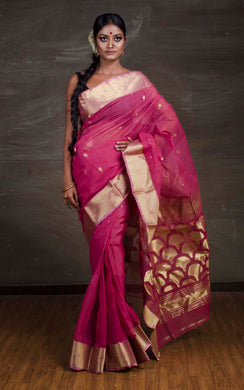 Rich Pallu Bengal Handloom Cotton Saree in Onion Pink and Gold