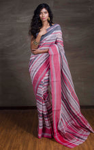 Bengal Handloom Cotton Saree in Off White, Red and Black from Bengal Looms India