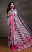Bengal Handloom Cotton Saree in Off White, Red and Black