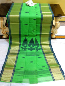 Bengal Handloom Cotton Saree in Parrot Green and Gold from Bengal Looms India
