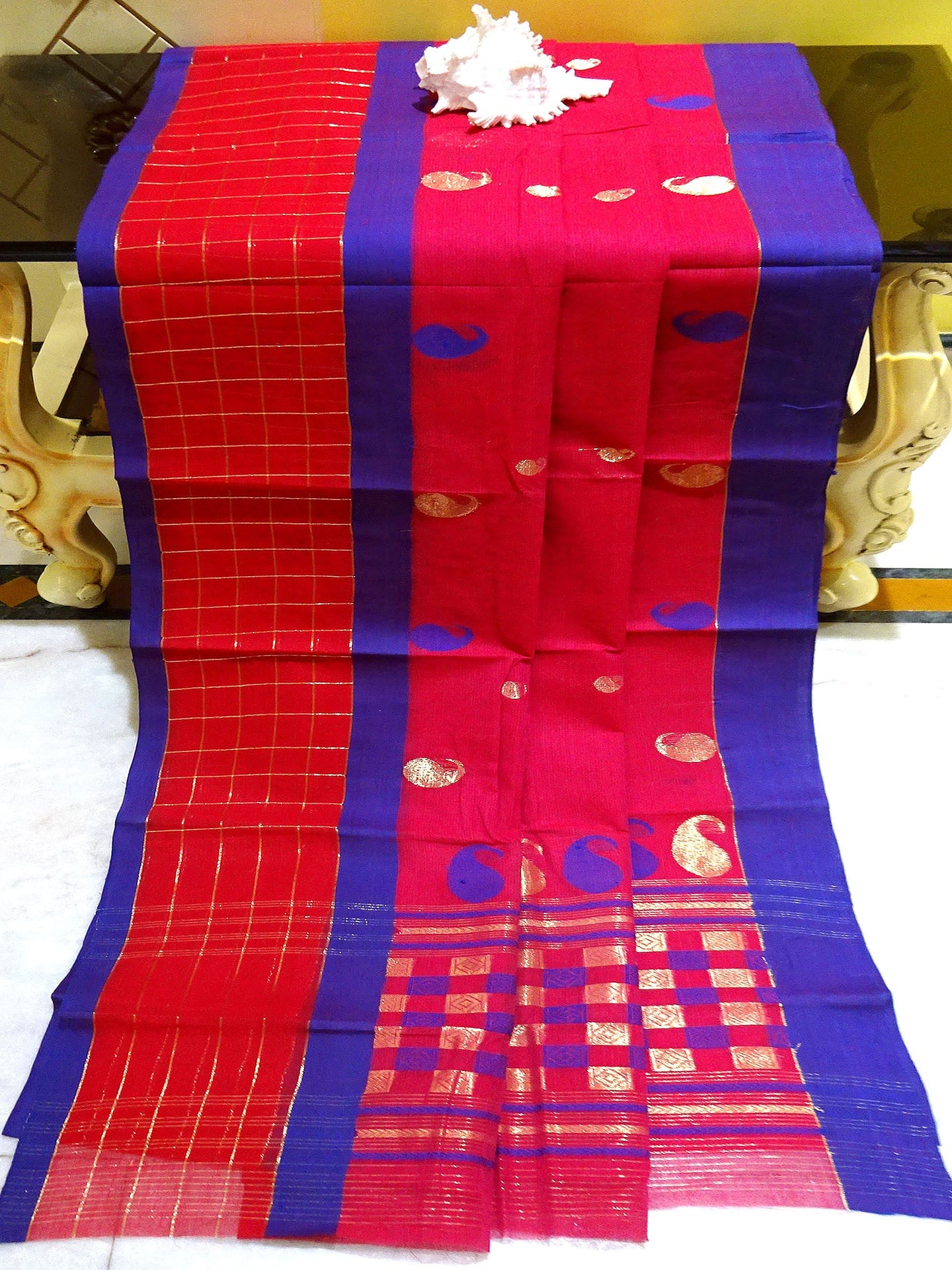 Bengal Handloom Cotton Saree in Rose Red and Blue - Bengal Looms India