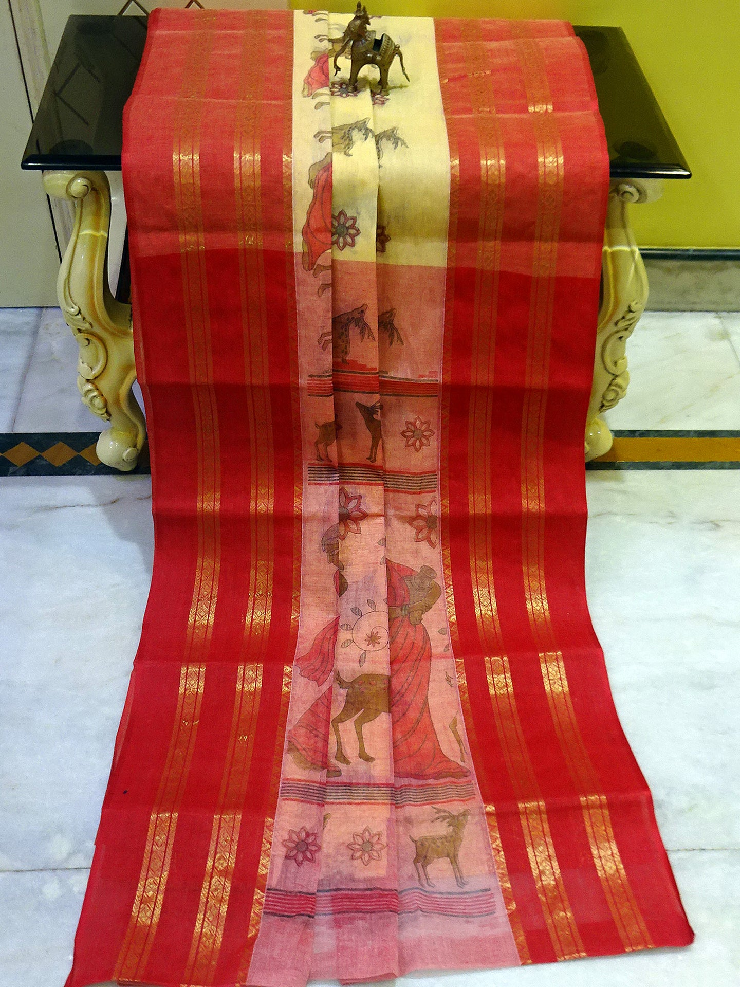 Cotton Tangail Saree in Butter Yellow and Pink