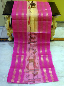 Bengal Handloom Cotton Saree in Off white and Red