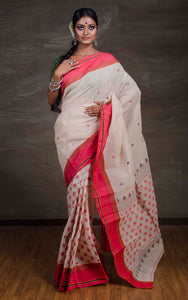 Exclusive Bengal Handloom Cotton Saree in Beige and Red - Bengal Looms India