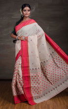 Exclusive Bengal Handloom Cotton Saree in Beige and Red from Bengal Looms India