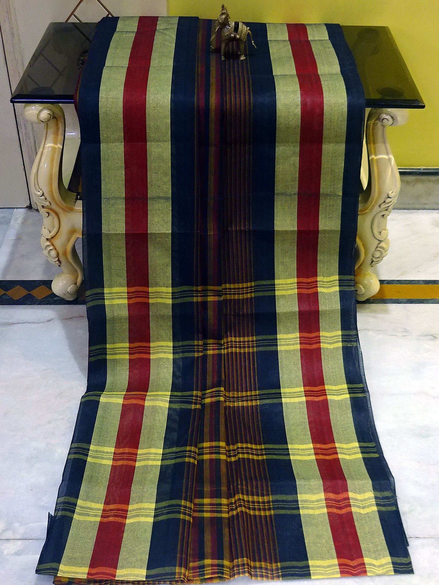 Bengal Handloom Cotton Saree in Multicolored Stripes