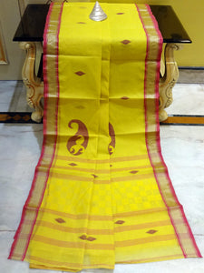 Bengal Handloom Cotton Saree in Yolk Yellow and Magenta