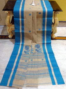Bengal Handloom Cotton Saree in Tan Brown and Azure