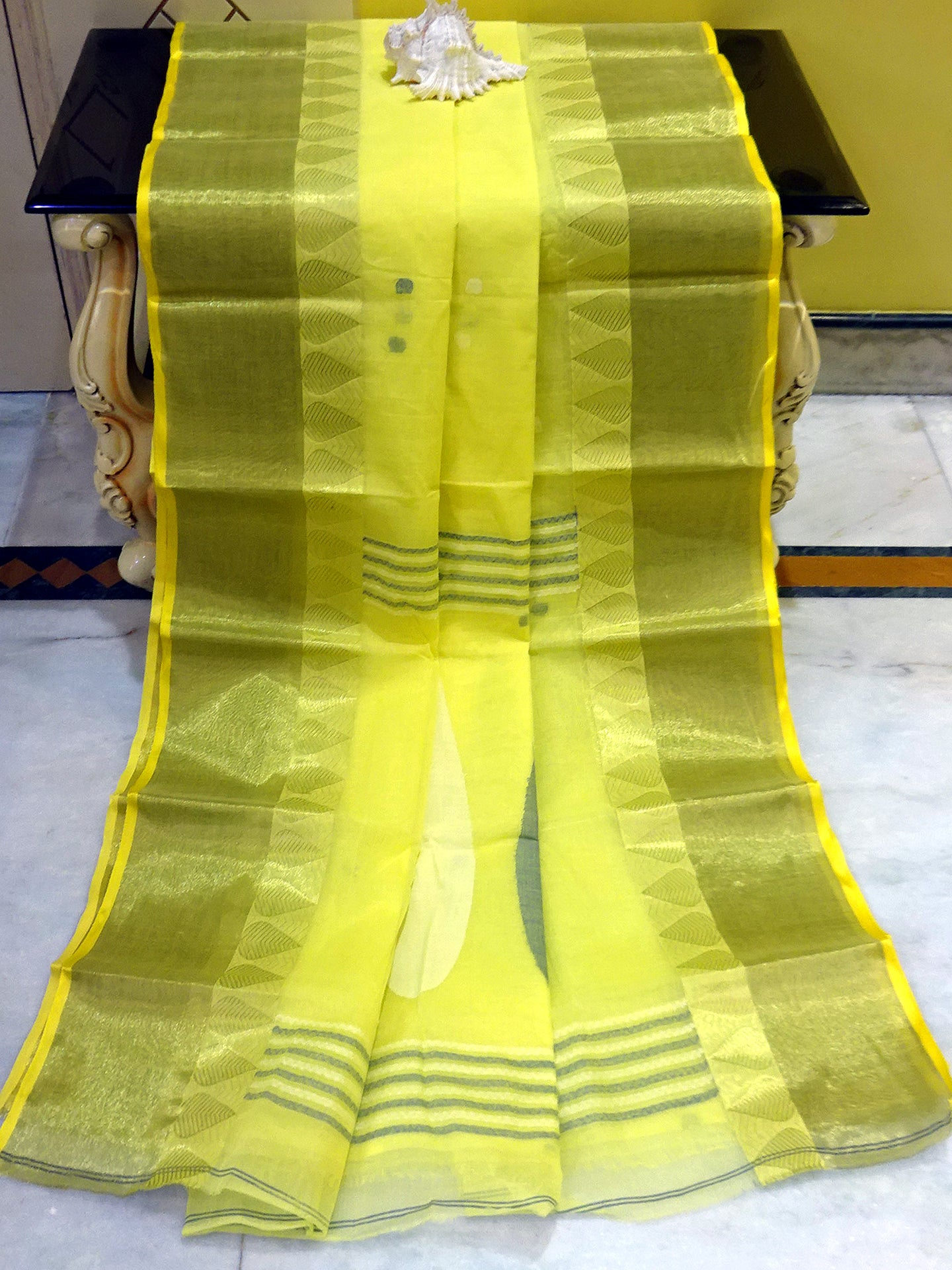 Bengal Handloom Cotton Saree in Lemon and Steel Blue