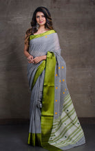Bengal Handloom Cotton Saree in Steel Grey and Olive Green