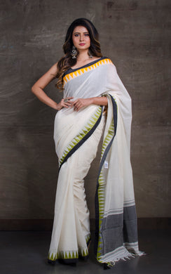 Bengal Handloom Designer Cotton Saree in Off white with Ganga Jamuna crowned Temple Border