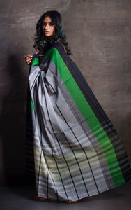 Bengal Handloom Designer Cotton Saree in Light Grey, Black and Forest Green