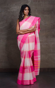 Bengal Handloom Cotton Saree in Pink and White