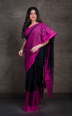 Bengal Handloom Designer Cotton Saree in Black and Magenta