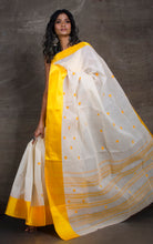 Bengal Handloom Cotton Saree in White and Yellow
