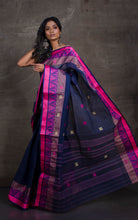 Bengal Handloom Cotton Saree in Deep Blue, Pink and Beige