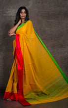 Bengal Handloom Designer Cotton Saree in Yellow, Red and Green