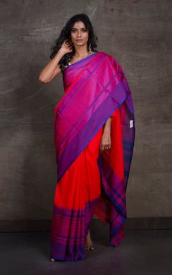 Bengal Handloom Designer Cotton Saree in Red and Admiral Blue