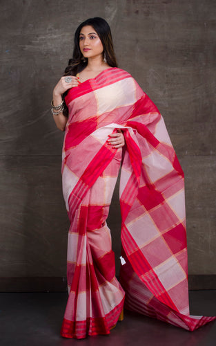 Bengal Handloom Cotton Saree in Red and Off White