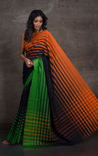 Bengal Handloom Designer Cotton Saree in Black, Orange and Green